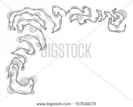 Hand sketched ornament, frame decorative design element, black line on white background