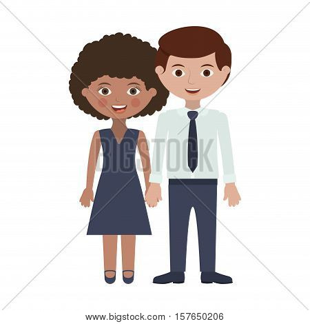 couple of adults with hands entwined vector illustration