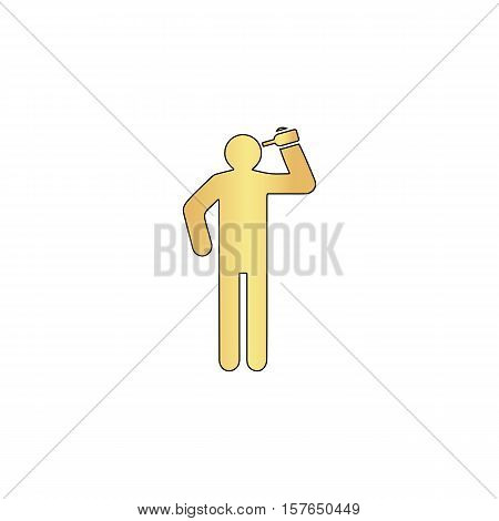 drunkard Gold vector icon with black contour line. Flat computer symbol