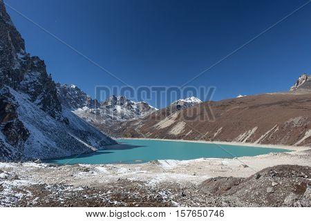 Himalaya Mountain Landscape. View Over Beautiful Gokyo Lake, Sagarmatha National Park, Nepal. Turquo