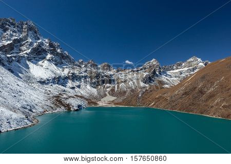 Himalaya Mountain Landscape. View Over Gokyo Lake, Sagarmatha National Park, Nepal. Amazing Turquois