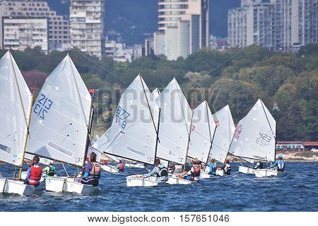 Sport Sailors training, racing in the open sea
