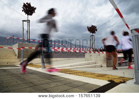 Marathon running race people competing in fitness and healthy active lifestyle