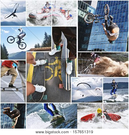 Extreme sports collage, sport and fitness theme