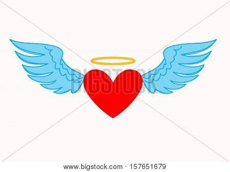 Romantic winged heart icon with halo symbolising romance and love on Valentines Day wedding anniversary or engagement
