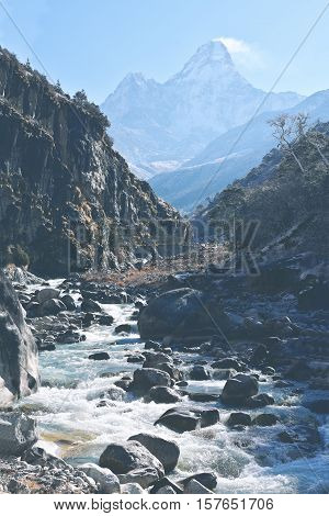 Mount Amadablam high Himalaya mountain on the way to EBC