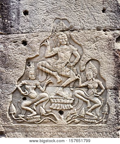 Bas-relief At Ancient Bayon Temple In Angkor Thom, Cambodia