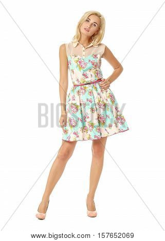 Full Length Of Flirtatious Woman In Tea Dress Isolated On White