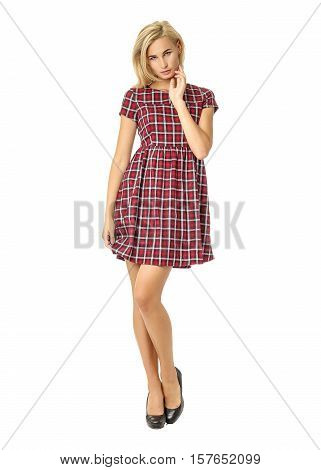 Portrait Of Flirtatious Woman In Tartan Dress Isolated On White