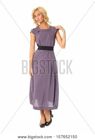 Portrait Of Flirtatious Woman In Violet Maxi Dress Isolated On White