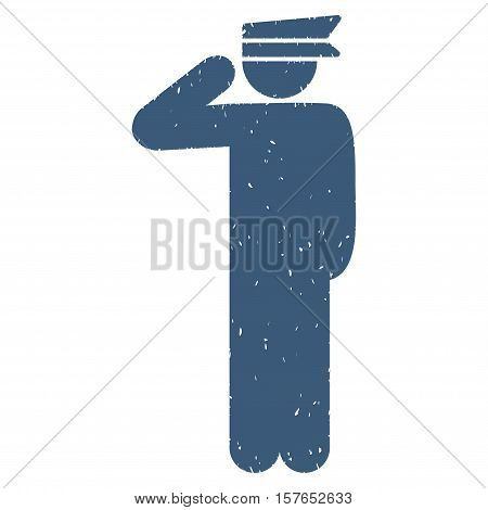 Police Officer grainy textured blue icon for overlay watermark stamps. Flat symbol with unclean texture. Dotted vector ink rubber seal stamp with grunge design on a white background.