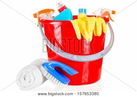 Red Bucket Chemical Cleaning Agents Isolated On A White Background