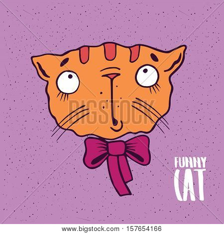 Cute Cat With A Bow In Handmade Cartoon Style