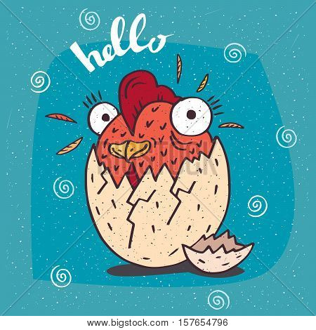 Cartoon cute little or rooster like a chicken hatched from an egg. Blue background and Hello lettering