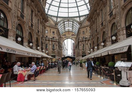 MILAN, ITALY - MAY 26, 2010: Galleria Vittorio Emanuele II in Milan, Italy. One of the world's oldest shopping malls, designed and built by Giuseppe Mengoni between 1865 and 1877.