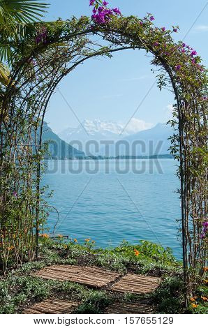 An arched garden arbor in Montreux, Switzerland