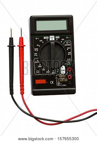 Digital multimeter isolated on white background. Electrical Tester.