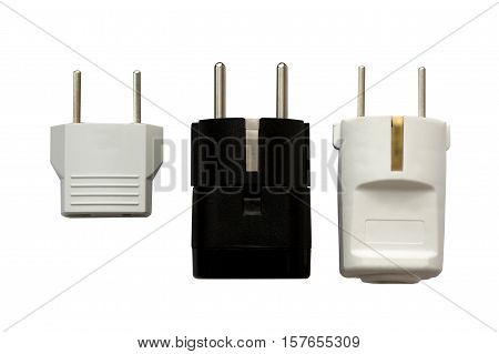 Electrical plugs. Power Adapters on White Background