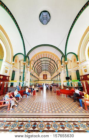 Interior Of Saigon Central Post Office. Ho Chi Minh, Vietnam