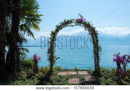 An arched garden arbor in Montreux, Switzerland