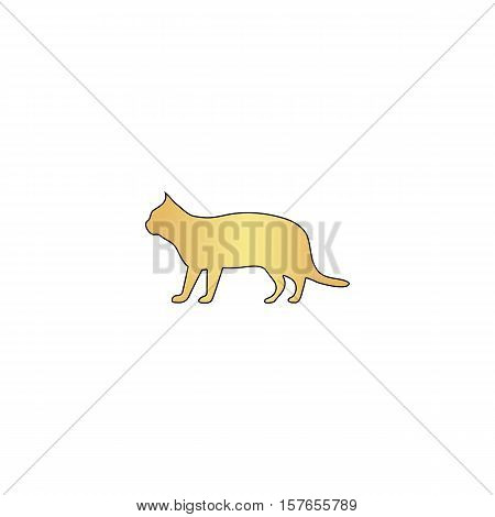 pussycat Gold vector icon with black contour line. Flat computer symbol
