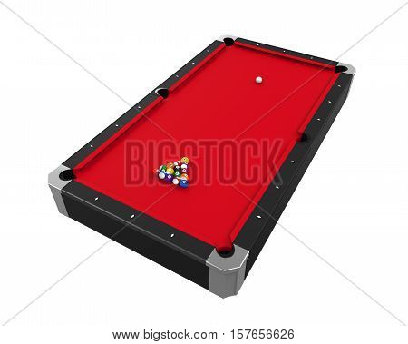 Red Billiard Table isolated on white background. 3D render