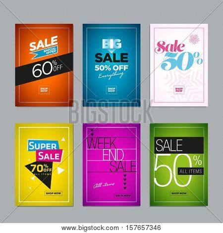 Collection of sale poster or website banner design templates. Vector illustration set for posters, social media banners, email and flyer designs, ads, promotional material.