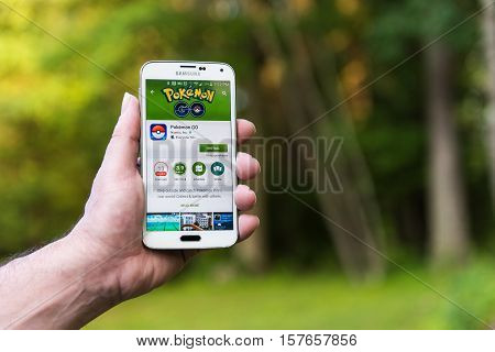 New York City, NY - July 13: An Android user prepares to install Pokemon Go, a free-to-play augmented reality mobile game developed by Niantic for iOS and Android devices