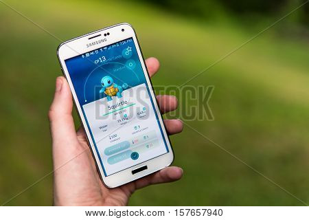 New York City, NY - July 13: An Android user playing Pokemon Go, a free-to-play augmented reality mobile game developed by Niantic for iOS and Android devices