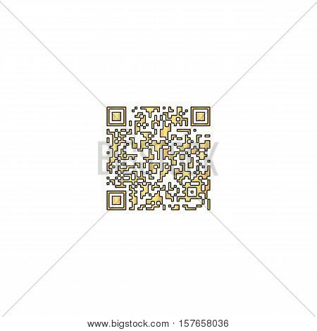 Qr code Gold vector icon with black contour line. Flat computer symbol