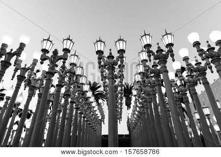 LOS ANGELES, CA - April 25, 2016: 'Urban Light' is a large-scale assemblage sculpture by Chris Burden at the Los Angeles County Museum of Art. The installation consists of 202 restored street lamps.