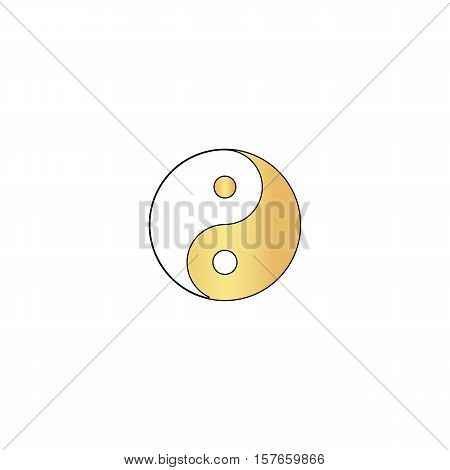 Ying yang Gold vector icon with black contour line. Flat computer symbol