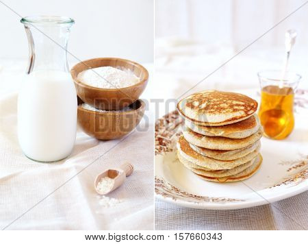 Gluten-free: Pancake with rice milk and rice flour and ingredients. Diptych
