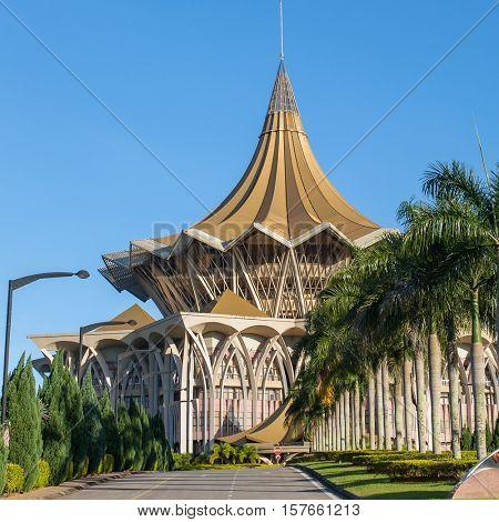 Kuching, Malaysia - May 29, 2016: Sarawak State Legislative Assembly (Dewan Undangan Negeri) in Kuching, Sarawak, Malaysia.