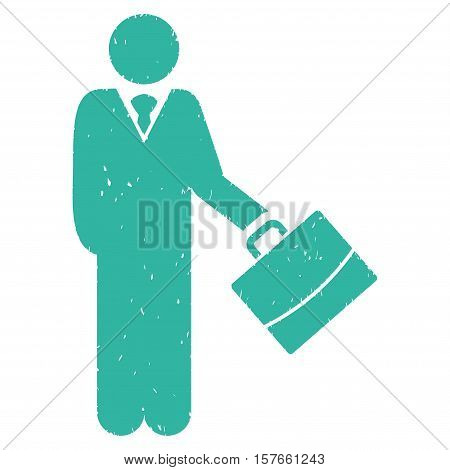 Standing Businessman grainy textured cyan icon for overlay watermark stamps. Flat symbol with dust texture. Dotted vector ink rubber seal stamp with grunge design on a white background.