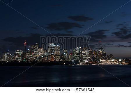 A nightscape of the Sydney, Australia skyline