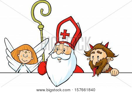 Saint Nicholas devil and angel peeking out behind white surface - vector illustration