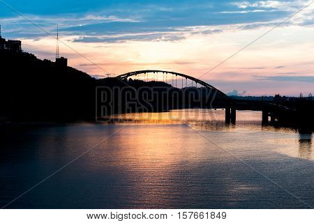 Fort Pitt Bridge in Pittsburgh, Pennsylvania at sunset