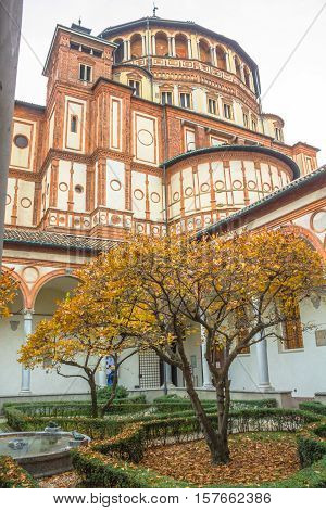 church Santa Maria Delle Grazie in Milan, Italy, from courtyard vertical view.