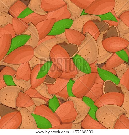 The almond nut background Closely spaced delicious almond vector illustration Nuts pattern walnut fruit in the shell whole shelled leaves appetizing looking for packaging design of healthy food