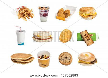 Fast Food - french fries, parfait, chicken nuggets, bacon egg & cheese sandwhich, soda, hashbrown, apple pie, pancakes, oatmeal, chocolate chip cookie, sausage egg & cheese sandwhich on the $1 menu
