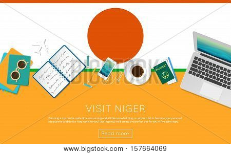 Visit Niger Concept For Your Web Banner Or Print Materials. Top View Of A Laptop, Sunglasses And Cof