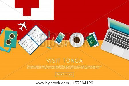 Visit Tonga Concept For Your Web Banner Or Print Materials. Top View Of A Laptop, Sunglasses And Cof