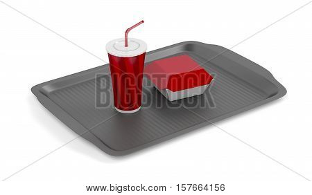 Plastic tray with soft drink and sandwich box on white background, 3D illustration