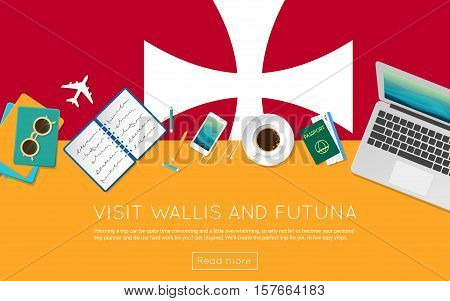 Visit Wallis And Futuna Concept For Your Web Banner Or Print Materials. Top View Of A Laptop, Sungla