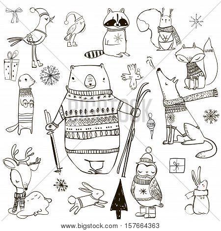 set with cute winter cartoon animals. vector illustration