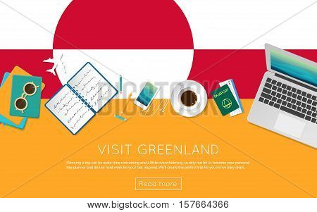Visit Greenland Concept For Your Web Banner Or Print Materials. Top View Of A Laptop, Sunglasses And
