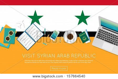Visit Syrian Arab Republic Concept For Your Web Banner Or Print Materials. Top View Of A Laptop, Sun