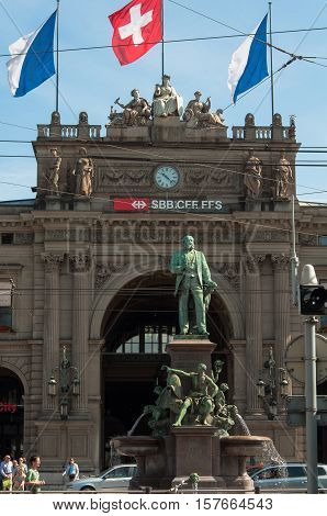 ZURICH, SWITZERLAND - JUNE 9, 2010 : Zurich Central Station, the largest railway station in Switzerland. The station is one of the busiest railway stations in the world