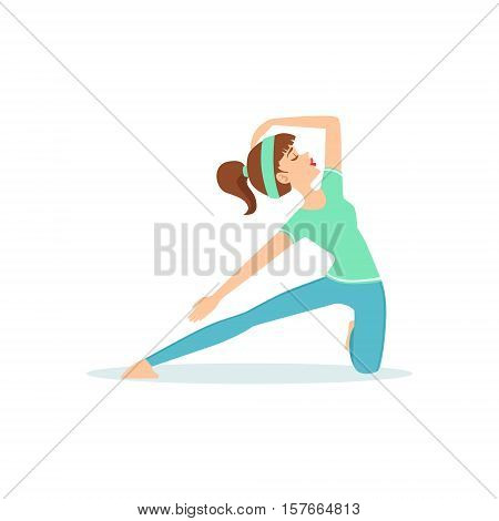 Crescent Lunge Yoga Pose Demonstrated By The Girl Cartoon Yogi With Ponytail In Blue Sportive Clothing Vector Illustration. Part Of Collection Of Yoga Asana Postures Drawing With Young Woman In Training Outfit